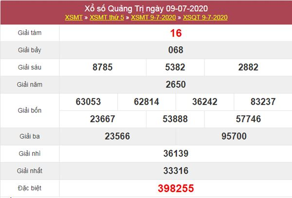 Dự đoán XSQT 16/7/2020 chốt lô số đẹp Quảng Trị thứ 5