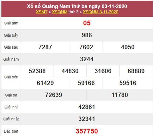 Soi cầu XSQNM 10/11/2020 chốt bạch thủ lô Quảng Nam thứ 3