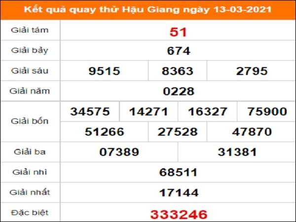 Quay thử kết quả xổ số tỉnh Hậu Giang ngày 13/3/2021