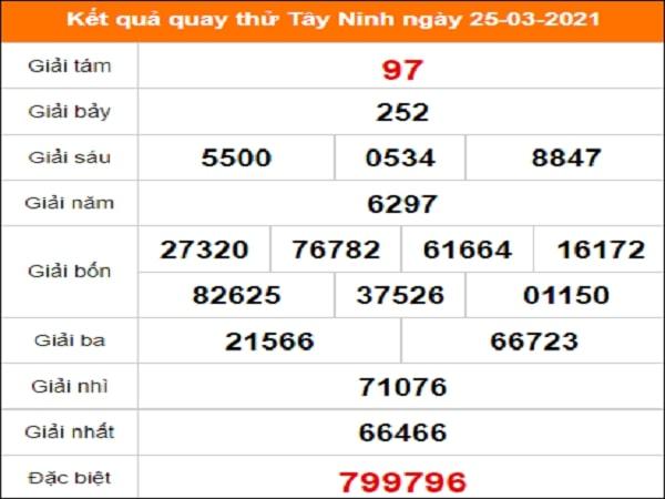 Quay thử xổ số Tây Ninh ngày 25/3/2021