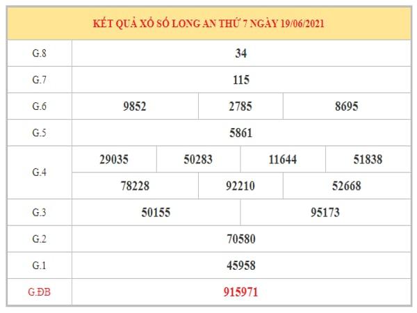 Thống kê KQXSLA ngày 26/6/2021 dựa trên kết quả kì trước