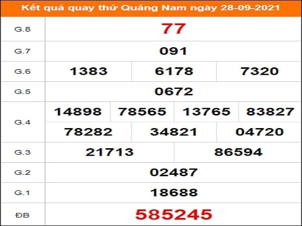 Quay thử xổ số Quảng Nam ngày 28/9/2021